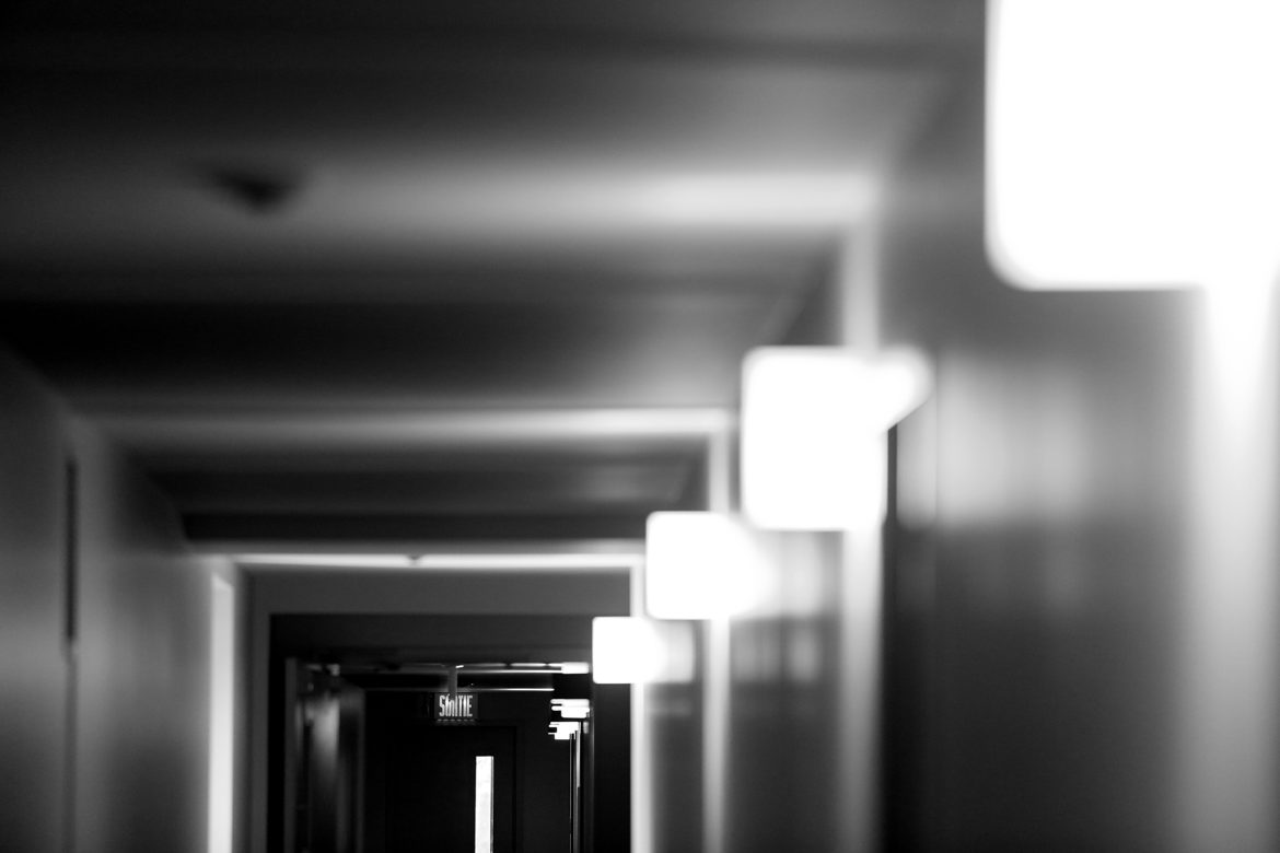 black-and-white-lights-corridor-indoors