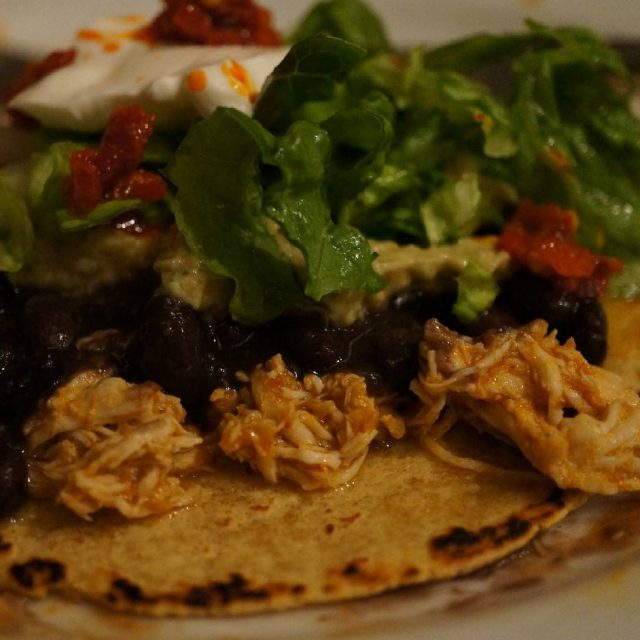 nextlevelgoodness unplugged dinner  Shredded chicken and black bean tostadas